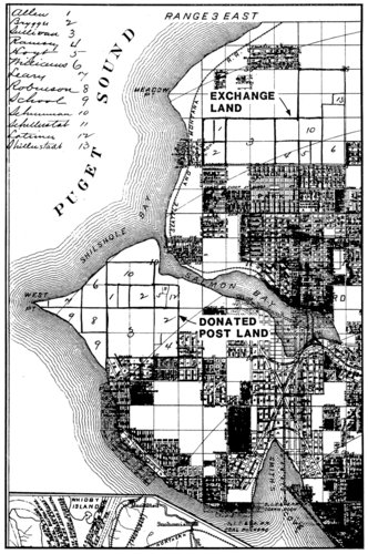 Seattle Chamber of Commerce map of the property just to the north of Ballard that was exchanged in 1897 for land donated on Magnolia to create Fort Lawton. July 1984. From The Evolution of Intent at Fort Lawton, by David Chance.