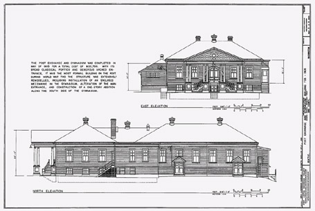 Drawings of two views of the Fort Lawton Post Exchange and Gymnasium, which was completed in 1905 at a total cost of $20,700. This building, which still stands on the parade grounds, is on the  National Register of Historic Places. Historic American Buildings Survey, Fort Lawton Recording Project, Page 12. 1981.